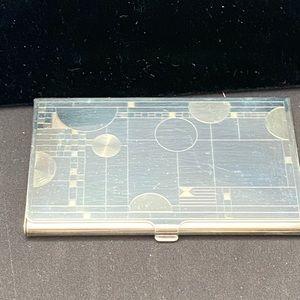 Silver plated card case Frank Lloyd Wright design